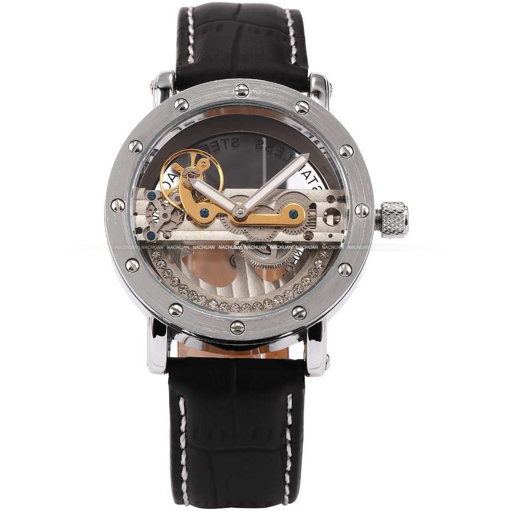 SHENHUA Steampunk Transparent Skeleton Crystal Flywheel Automatic Genuine Leather Strap Dress Mens Mechanical Watch <br>