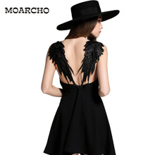 MOARCHO Summer Black White Lace Angel Wings Dress 2017 Casual Slim Sexy Backless Beach Dresses Women Spaghetti Strap Vestidos(China)