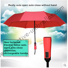 100% fully auto open auto close rechargeable electric three fold windproof alloy light weight umbrella colour optional parasol