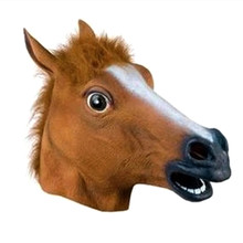 2016 New Arrival Hot sales Full Face Halloween Horse Mask Cosplay Mask Brown Horse Head Set Party Mask Dress Up