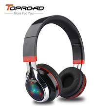 TOPROAD LED audifonos Bluetooth Headphones Glowing Foldable Earphone Wireless Stereo Music Headset With Mic FM Radio TF Headset(China)