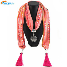 Vintage Retro Scarf Necklaces Pendants 2016 Leopard Head Pendant Necklace Brand Soft Chiffon Scarf Jewelry chal de fiesta