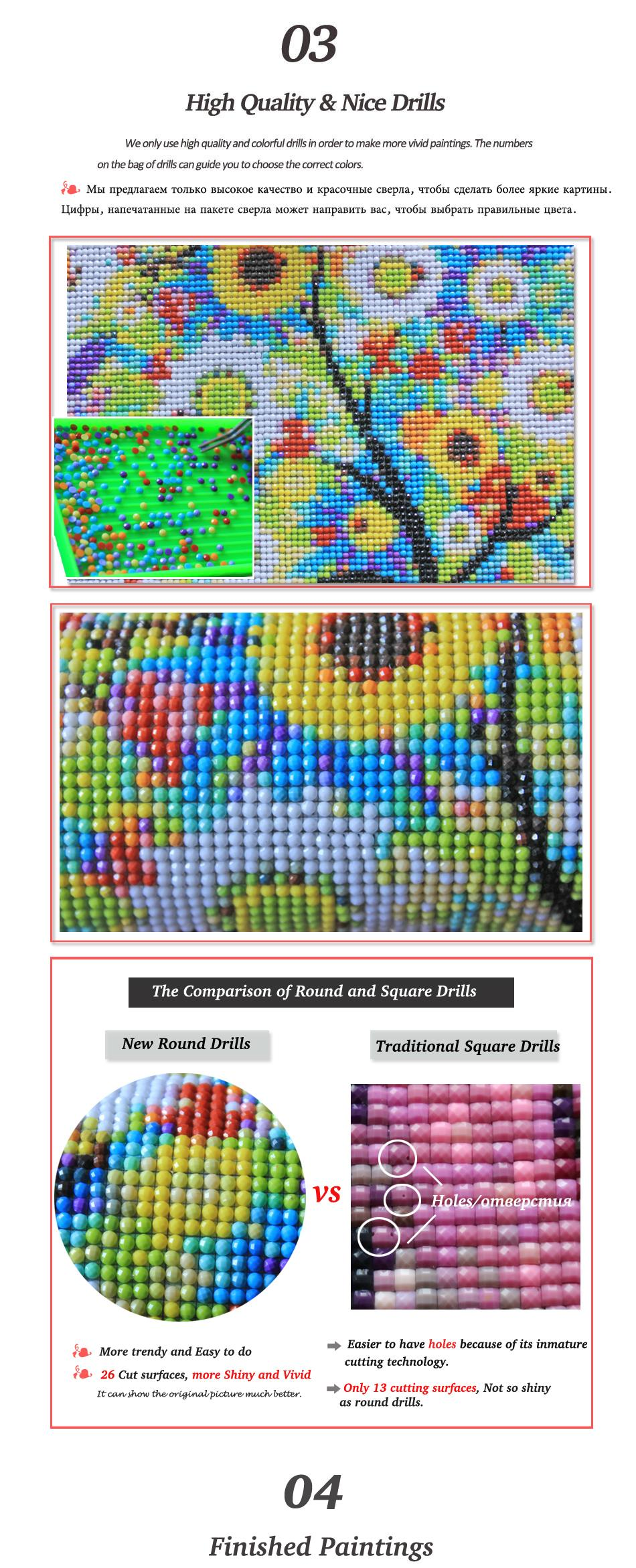 Diamond Mosaic Embroidery 5d Diy Diamond Painting cross stitch sets for Round crystal Drill patterns Rhinestones Embroidered Mazayka picture needlework (3)