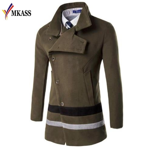 MKASS New Brand Arrival Fashion Long Trench Coat Men Winter Mens Overcoat 20% Wool Thick Trench Coat Male Jacket