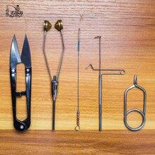 5 шт. мушек Инструменты комплект бобин Hackle Плоскогубцы Whip отделочники Ножницы нити шпульки Fly Рыбная ловля связывая комплект поставки(China)