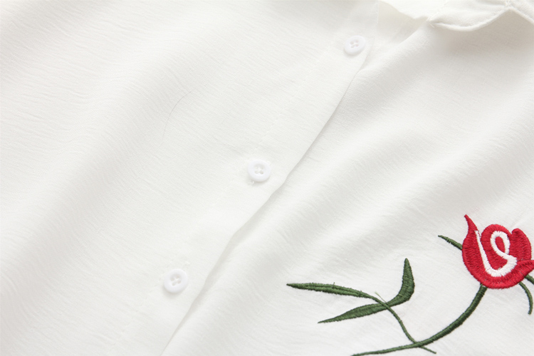 Summer Floral Embroidery Short Sleeve Women Blouses White Shirt Linen Coon Casual Loose Blouse Womens Tops Blusas             11
