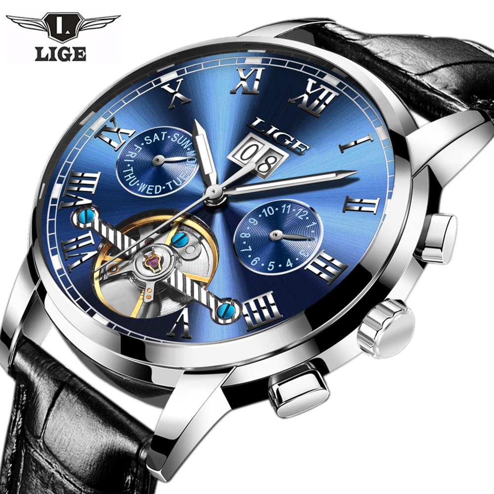 LIGE Mens Watches Top Brand Luxury Automatic Watch Men Leather Strap Casual Waterproof Sport Watch Male Clock Relogio Masculino<br>
