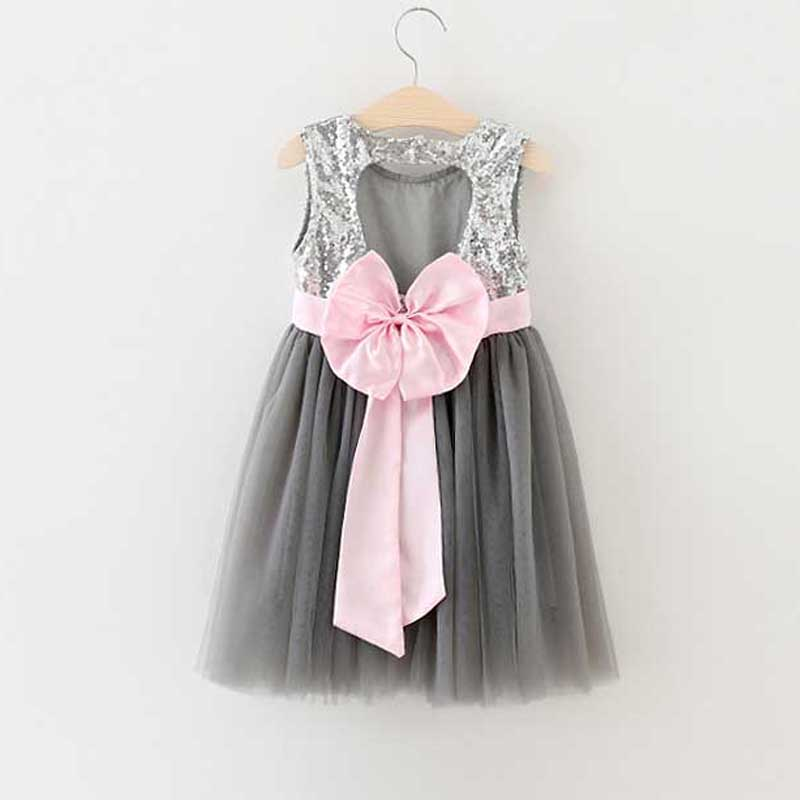 Flower Girl Princess Toddler Baby Wedding Party Tulle Dress backless Holiday Dress  bling bling vest dress pink silk bow<br><br>Aliexpress
