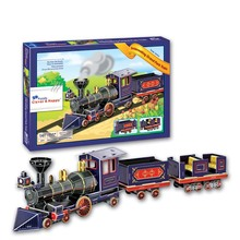 2014 new clever&happy land Interesting Grand Park Train 3d puzzle model adult puzzle gift educational toys paper