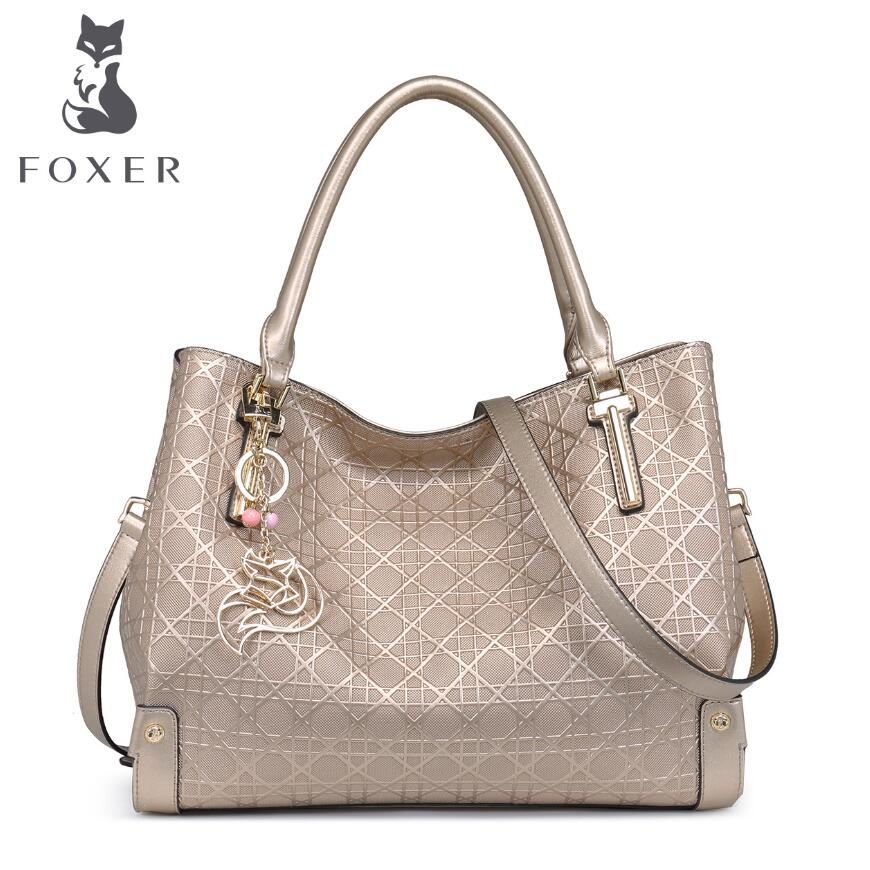 FOXER 2016 new superior cowhide women genuine leather bag famous brands fashion quilted embossed women leather handbags <br><br>Aliexpress