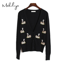 spring autumn summer winter new women Sequins swan embroidered Sequin Knit Cardigan Sweater female all-match coat S00