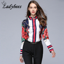 LADYBEES 2017 Autumn Women Shirts Long Sleeve Floral Star Printed Blouse Chiffon Tops Office Ladies OL Work Wear Casual Blusas(China)