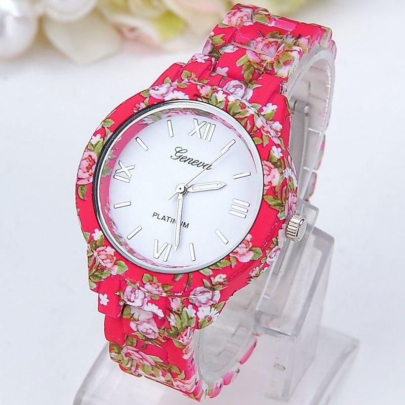 Gnova Platinum GARDEN Flowers  Women Watch Printed Plastic Band Analog wristwatch Vintage Fashion Reloj Para Dama Geneva Style<br><br>Aliexpress