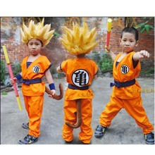 Cheap Dragon Ball Z GoKu Cosplay Children turtler cosplay clothing Japan cartoon dragonball wukong clothes+wig Halloween Costume(China)