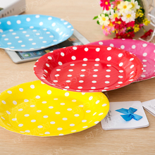 Zilue 10pcs 17.5cm Multicolor Dot Tray Cake Barbecue Dishes Disposable Polka Dot Tray Birthday Party Wedding Christmas Supplies(China)