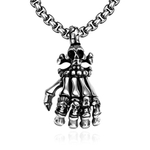 Retro Punk Street Style Men Necklace 361 Stainless Steel Skeleton Skull Palm Pendant Necklace Chain For Boy Friend Jewelry Gift(China)