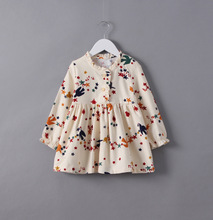 2017 Girls Cotton Print Dresses High-quality Goods Princess Party Dress Long Sleeve Kids Dresses 2-7y Girls Costume(China)