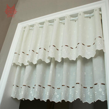 Luxury off white cotton floral embroidery half-curtain bay window curtain for coffee kitchen room cortinas rideaux SP2432