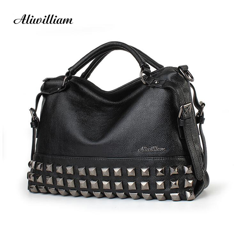 New Rivet Women Leather Handbags Vintage Woman Bags Bag Handbag Fashion Handbags Women Shoulder Bags Leather Pu Tote Bag<br>