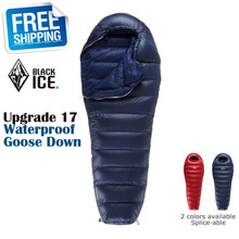 Black ice Upgrade G1300 Blue/Red Mummy Splicing Single 75x195cm/80x205cm Ultra Light Waterproof Goose Down Winter Sleeping Bag(China)