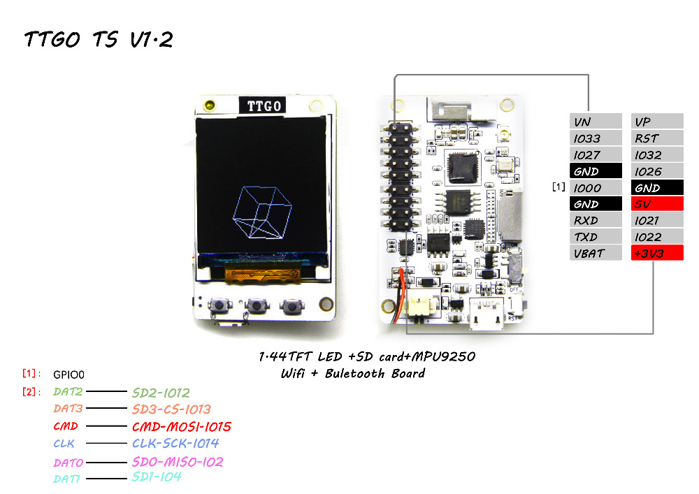 ESP32 TS V1.2 MPU9250 1,8 polegadas TFT Bluetooth Wifi MicroSD Card Slot Speakers Módulo