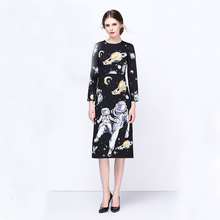 High Quality New 2017 Autumn Runway Designer Dress Women's Long Sleeve spaceman Floral Printed Black Knee Length Dress
