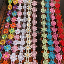 3Yards/lot 11 Colors On Sale Beautiful Flower Cotton Lace Fabric Sewing Applique Satin Ribbon DIY Craft Lace Ribbon Tape Sewing
