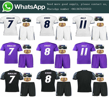 Free patch 2017 Thai AAA best Quality Realed Madrided adult kit Shirts 16 17 Home White Away Purple 3RD black size free shipping