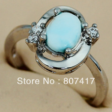 Rings Larimar and White Cubic Zirconia Cute jewelry Silver Plated R3536 sz#6 7 8 9 Favourite Best Sellers Time limited discount