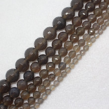 Mini. Order is $7 !4-16mm Faceted Grey Gray Agates Onyx Round DIY Fa-store Spacer Loose Beads 15""