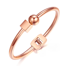 Fashion Stainless Steel Ball With Cube Design Women's Open Bangle Rose Gold color Bracelet Jewelry Gift OL style