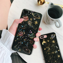 Space planet Glitter phone Cases for iphone 7 7Plus Soft silicon Case For iphone X 6 6s 6Plus 6splus 8 8plus back cover(China)