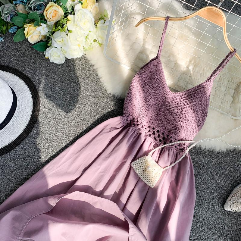 19 new fashion women's dresses Fresh openwork knit stitching V-neck strap high waist dress 12