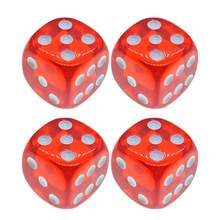 4Pcs Dices 18mm Translucent Red 6-Sided Solid Rounded Corner Dice for Games Teaching(China)