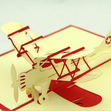 Modern Airplane Model Handmade Kirigami 3D Pop UP Greeting Cards Birthday Gifts Paper Card Crafts Post Cards Wishes