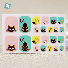 Y5538 Fashion sexy beauty Auto Stick Toe Nail Art Foil Stickers Yellow Green Golden Cats Manicure Adhesive Decal Nail Wraps