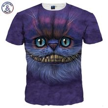 Mr.1991INC New Fashion Men/women 3d T-shirt Short Sleeve Tees Print Lovely Cheshire Cat Quick Dry Summer Tops Tees