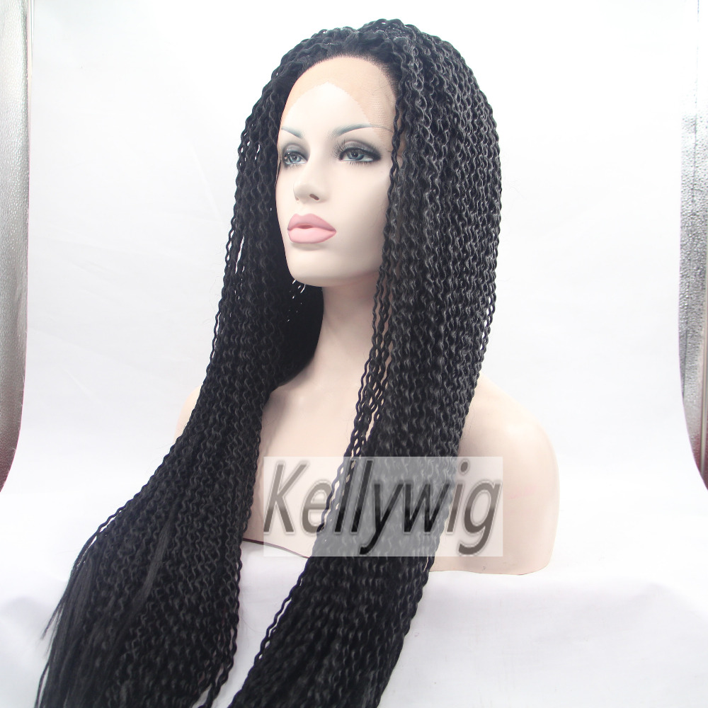Free Ship  Length 16-28 Glueless Lace Front Wig Black 1B Small Curly  Heat Resistant Hair Full Wig Synthetic Hair Medium Cap<br><br>Aliexpress