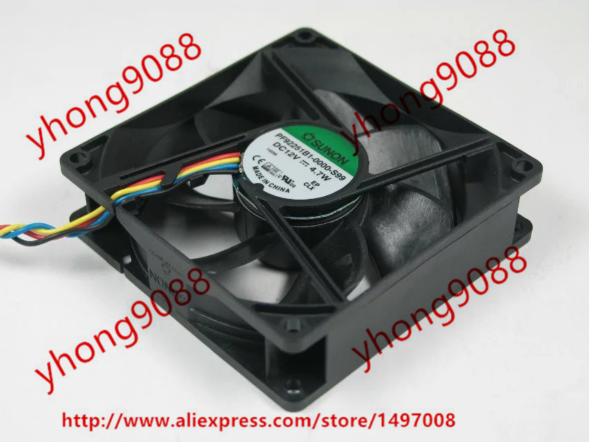 Free Shipping For SUNON PF92251B1-0000-S99 DC 12V 4.7W 4-wire 4-pin connector 92x92x25mm Server Square Cooling Fan<br>
