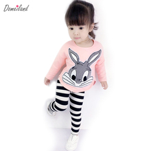 2017 autumn domeiland cute children's Princess outfits clothes sets for kids girl cotton cute rabbit sweater stripe pant suit(China)