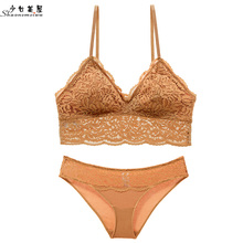 Buy shaonvmeiwu French lace bra set sexy lady's lingerie strapless thin bra barlette fall