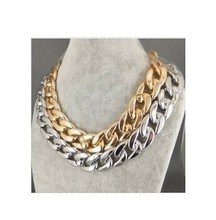 NK304 Hot European and American Trade Jewelry Wholesales Exaggerated Punk Coarse Metallic Necklace Gas Market