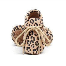 Hot Sell New genuine Leather Baby Moccasins Shoes leopard lace up hard rubber sole Baby Shoes Newborn first walker Infant Shoes(China)