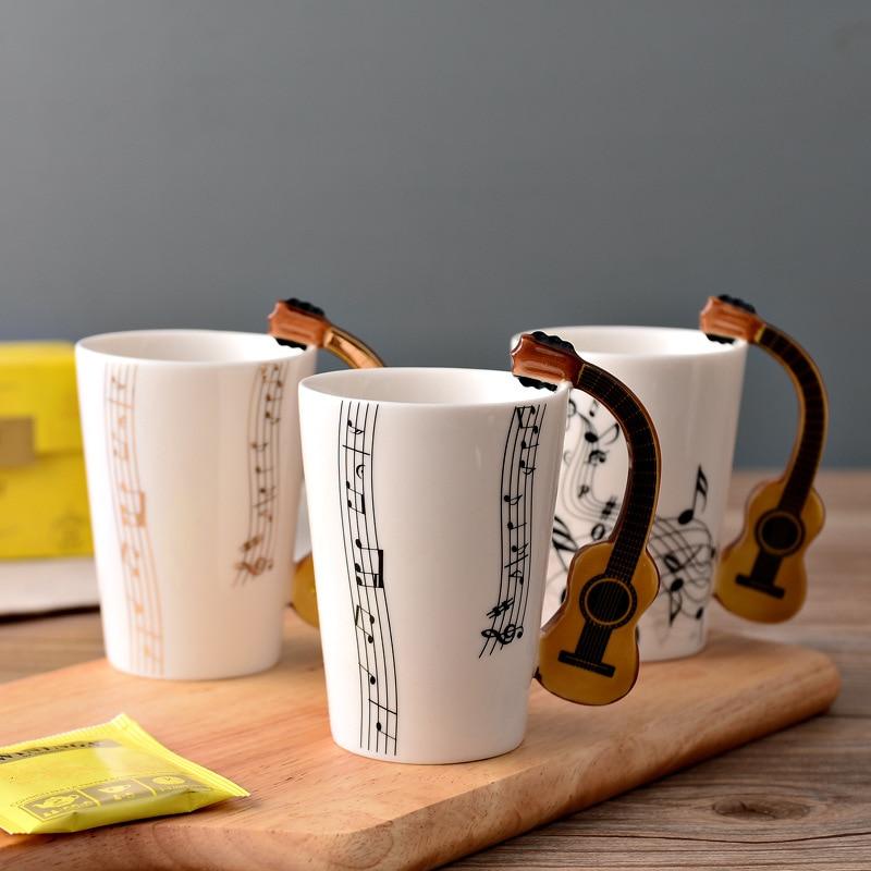 Novelty Guitar Shaped Handle Ceramic Mug New Coffee Tea Home Office Decor