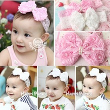 Kids lace hairbands New bownot head band Little girls hair accessories Cute girl enfant loves flower headwraps bebes HB037