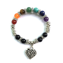 GET IT GIRL 2017 New Style 7 Chakra Silver Love Heart Bracelets for Women Natural Stone Beaded Bracelet Yoga Bracelets & Bangles