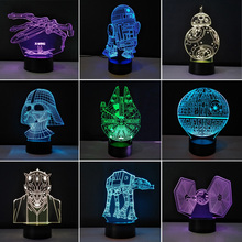 Multiple Stars Wars LED 3D night lights Creative Ambient Light Desk lamp Home Lighting Bulbing Color change Luminaria Kids Gifts(China)