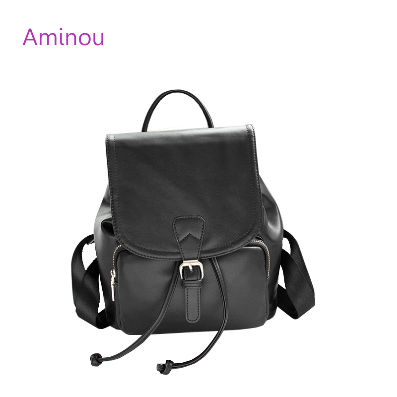 Aminou Women School String Backpack Bags For Teenager Girls Preppy Style Back Pack High Quality Pu Leather Trave Women Mochila<br>