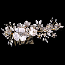 Buy Gorgeous Handmade Golden Wired Rhinestones Crystal Pearls Flower Wedding Hair Comb Bridal Hair comb Hair accessories Bridesmaids for $13.59 in AliExpress store