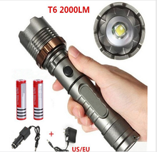 XML T6 2000 Lumens 5 Modes Rechargeable Flashlight Outdoor Lantern For Hunting+Charger (US)+18650 Li-ion Battery